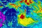 Tropical Cyclone Lusi pictured here having passed Vanuatu and heading straight for New Zealand Photo/NOAA MTSAT IR