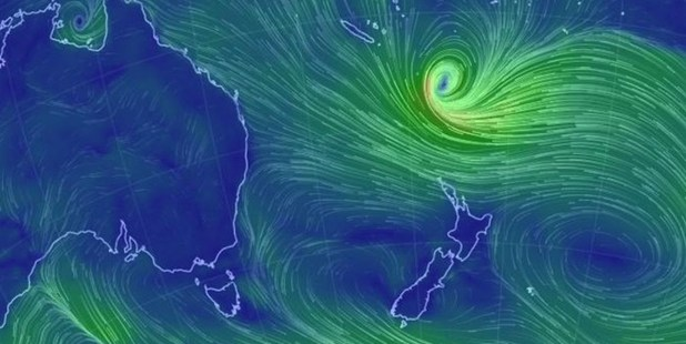 Cyclone Lusi on its way to New Zealand.
