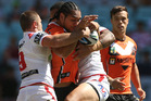 In their opening game of the NRL season, the Tigers led 12-0 after 11 minutes and 18-6 after 20 minutes before being thumped. Photo / Getty Images