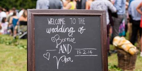 Blackboard signs are a creative way to welcome wedding guests. Photo / Jonathan Suckling - jonathansuckling.com