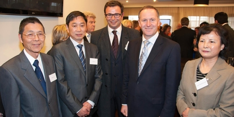 Prime Minister John Key at the opening of the Boulevard Hotel with (from left) Wilson Chow, Donghua Liu, Councillor Cameron Brewer and Chinese Consul-General Liao Juhua.