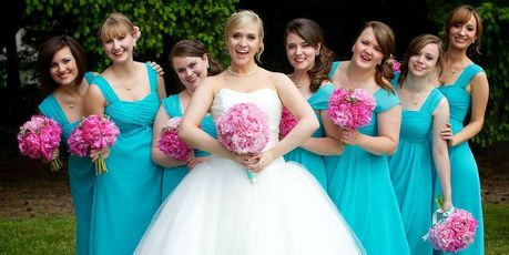 Full-length bridesmaid dresses are in. Photo / Pinterest