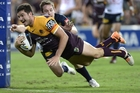 Matt Gillett scores against the Cowboys on Friday night. Photo / Getty Images
