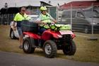 Helmeted Sergeant Nigel Hurley sets a good example for quad bike riders. Photo/Glenn Taylor