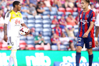 Kenny Cunningham of the Phoenix stares at Adam Taggart of the Jets after a referee decision during the round 24 A-League match between the Newcastle Jets and Wellington Phoenix. Photo / Getty Images.