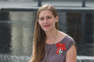 Eleanor Catton after receiving the NZ Order of Merit at the investiture ceremony. Photo / Mark Mitchell