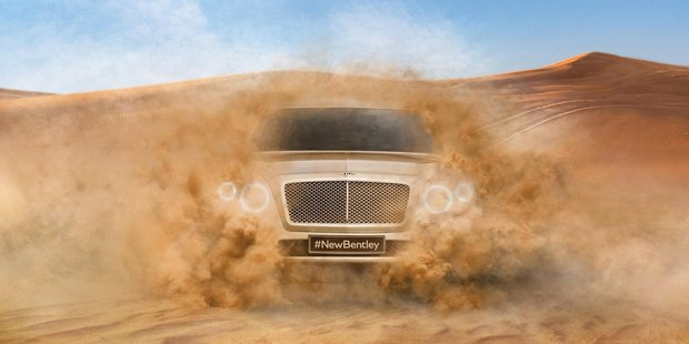 Details are blurry, but it's our first look at luxury maker Bentley's planned SUV.