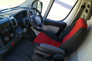 The interior of the Fiat Ducato van, that needs a reversing camera.