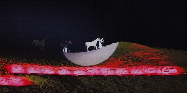 Stage centre: The white Arabian horses in the spotlight at Dubai's Desert Stanzas: Poetry & Music Under the Stars event.