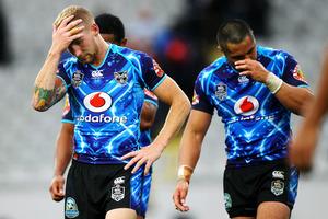 Warriors' Sam Tomkins is dejected. Round two Telstra Premiership NRL match, Vodafone Warriors v St George Illawarra Dragons, Eden Park, Auckland. Photo: photosport.co.nz