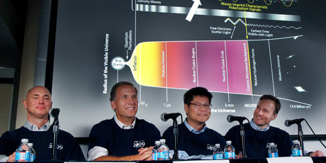 Scientists, from left, Clem Pryke, Jamie Bock, Chao-Lin Kuo and John Kovac smile during a news conference at the Harvard-Smithsonian Center for Astrophysics in Cambridge. Photo / AP