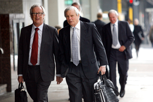 Feltex director Peter Thomas and chairman Tim Saunders arrive at the Auckland District Court. Photo / Dean Purcell