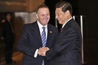 New Zealand Prime Minister John Key with Chinese Premier President Xi Jinping.
