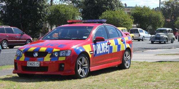 An unusual sight in Whangamata - a bright red Police car has joined the team patrolling at Beach Hop.