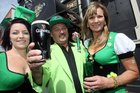 GREEN ALERT: Joxer Daly's Steak & Ale House, Masterton, owners and bar staff decked out in leprechaun costume for St Patrick's Day today.  Nicola Flanagan (left), and John and Rosemarie Cavaney.