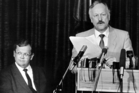 All change ... Roger Douglas expounds as Prime Minister David Lange listens. Photo / NZ Herald Archive
