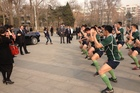 The rugby team at China Agricultural University perform a haka for Prime Minister John Key. Photo / Claire Trevett