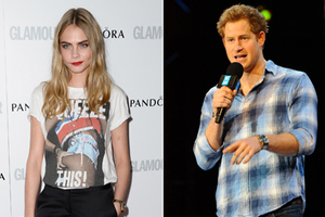 Cara Delevingne, Prince Harry and Kristen Stewart in their casual 'dressed-down' looks. Photos / Getty Images