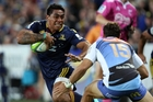 Malakai Fekitoa of the Highlanders makes a break against the Force on Saturday. Photo / Getty Images