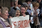 Crimean women protest against the breakup of Ukraine. AP
