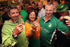 (L-R) Mike Baillie, Kay Sefton and Kim Harvey celebrate St Patrick's Day. Photo / Ben Fraser