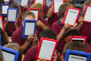 Students with brand new iPads. Photo / APN