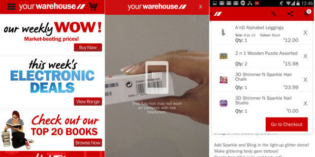 Screenshots of the 'Your Warehouse' app that was launched on Wednesday.