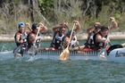 GOING FOR IT: The gold-medal winning Rotorua Boys' High School W6 crew of Rawiri Manley (left), Tihema Ned, Kaipo Brown, Manaaki Te Kowhai, Tipene James and Matangireia Yates-Francis in action on Tikitapu (Blue Lake). PHOTO/SUPPLIED