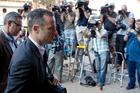 Oscar Pistorius arrives at the High Court in Pretoria. Photo / AP