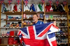 Jason Wong of the Union Jack's British Food Store is all geared up for the royal tour. Photo / Richard Robinson