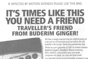 Buderim Ginger ads on sick bags.
