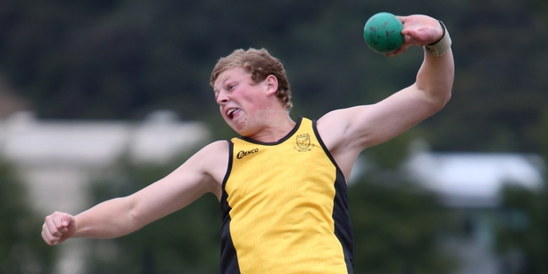 Whangarei Boys' High 15-year-old Scott Gregory, pictured with a shot put, threw the hammer a whopping 53.25m, a new championship record. Photo/Michael Cunningham
