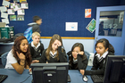 Nia Sky (left), David Officer, Alena Shedeka, Emily Kuang and Patricia Salcedo from Avondale College. Photo / Michael Craig