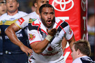 Konrad Hurrell of the Warriors blows a kiss after scoring a try during the round three NRL match between the North Queensland Cowboys and the New Zealand Warriors. Photo / Getty Images.