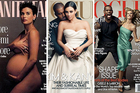 Vogue's Kimye cover, centre, along with the covers of Vogue's, April 2008 issue, right and Vanity Fair's August, 1991 issue, left.