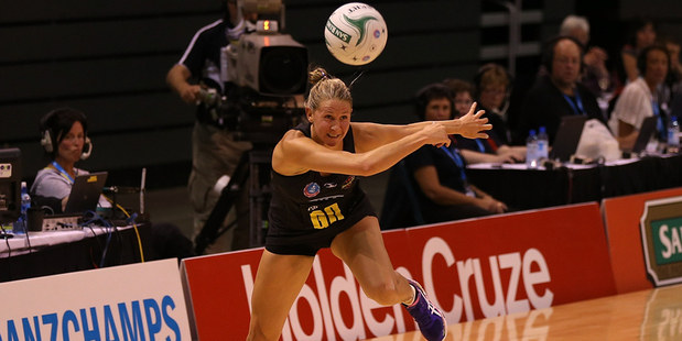 Casey Kopua of the Magic controls the ball during the round one ANZ Championships match between the Canterbury Tactix and the Waikato Bay of Plenty Magic. Photo / Getty Images.