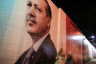 A huge poster of Turkish Prime Minister Recep Tayyip Erdogan in the city center in Istanbu, Turkey. Photo / AP