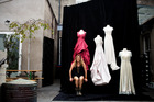 Designer Tanya Carlson photographed with some of her wedding gowns to be exhibited in Dunedin. Picture / Babiche Martens