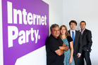 Chief executive Vikram Kumar, party secretary Anna Sutherland, legal counsel Graeme Edgeler and press secretary John Mitchell pose at the Internet Party office in Lower Hutt. Photo / Herald on Sunday