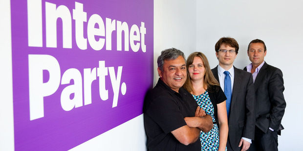 Internet Party chief executive Vikram Kumar, party secretary Anna Sutherland, legal counsel Graeme Edgeler and press secretary John Mitchell.