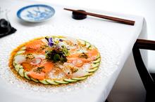 Snapper and Ora King Salmon sashimi at Coroco. Photo / Babiche Martens.