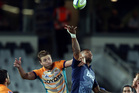 Cheetahs' centre Johann Sadie (left) and Blues back Frank Halai contest a high ball during their controversial match. Photo / Getty Images