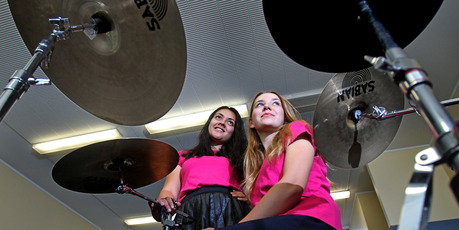 Tauranga Girls College students, Leilani Taula (left) and Tessa Adams, are performing at the Jazz Festival.
