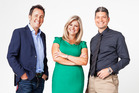 Seven Sharp presenters Mike Hosking, Toni Street and Jesse Mulligan.