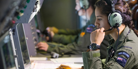 Number 5 Squadron's Siale Mann checks instruments on the RNZAF P-3K2 Orion. Photo / Greg Bowker