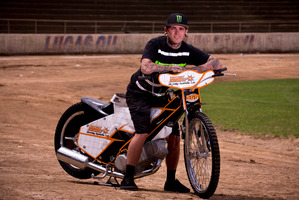 World champ Tai Woffinden at Western Springs Speedway. Picture / Dean Purcell