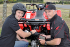 Blackhawk CEO Andrew Radcliff (far left) and Blue Wing general manager Alan Petrie have big plans for Farm Angel, hoping to sell the tracking and monitoring technology (below), which improves safe use of quad bikes, here and internationally.