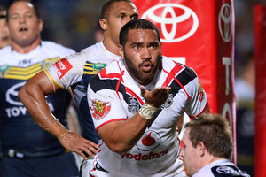 Konrad Hurrell oseals a try with a kiss but remains a puzzle. Photo / Getty Images