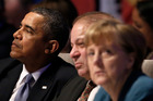 US President Barack Obama, left, Pakistan's Prime Minister Mohammad Nawaz Sharif, center, and German Chancellor Angela Merkel. Photo / AP