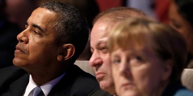 US President Barack Obama, left, Pakistan's Prime Minister Mohammad Nawaz Sharif, center, and German Chancellor Angela Merkel. Photo / AP